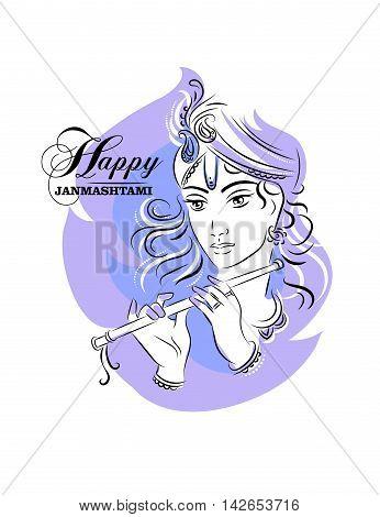 Hindu young god Lord Krishna. Happy janmashtami