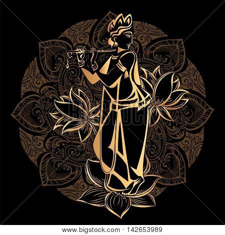 Krishna Janmashtami - Hindu festival. Hare Krishnas. Golden Krishna playing a flute on a black background and the mandala background
