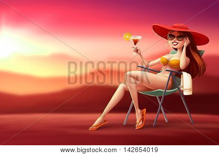 Illustration girl in lounge chair with a cocktail