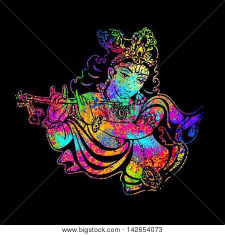 Krishna playing the flute on a psychedelic background. Vector poster for a party printing on T-shirts greeting cards or invitations