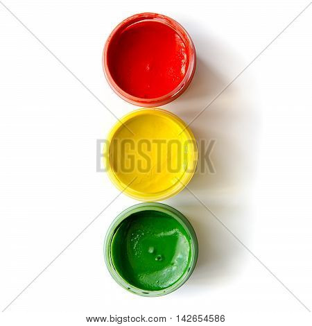 traffic light made of paints isolated on a white background