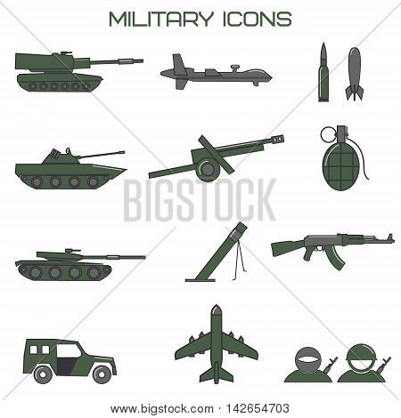 Set of military icons. tank fighting machine drone mortar ammunition howitzer. Vector illustration.