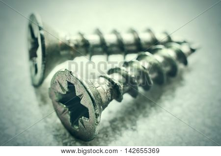 a two metal screws macro close up