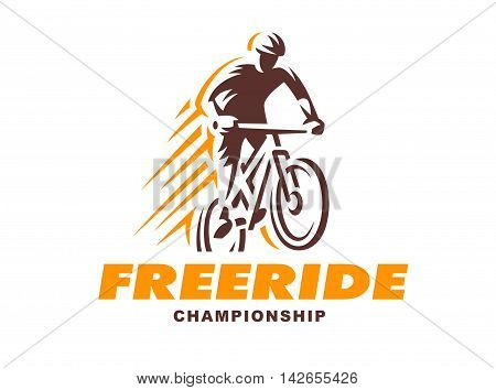 Vintage and modern biking logo badges and labels. biking silhouette, jump, extreme