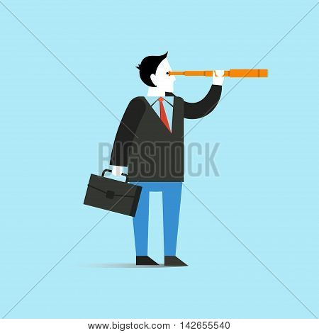 Businessman look through spyglass vector illustration in flat style design. Creative business vision concept