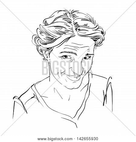 Hand-drawn vector illustration of naive blameworthy woman.