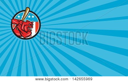 Business card showing illustration of a bulldog baseball player batter hitter batting viewed from side set inside circle with usa stars and stripes flag in the background done in retro style.