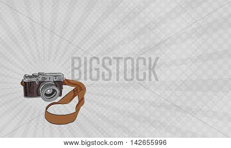 Business card showing Drawing sketch style illustration of a vintage camera with strap viewed from front set on isolated white background.