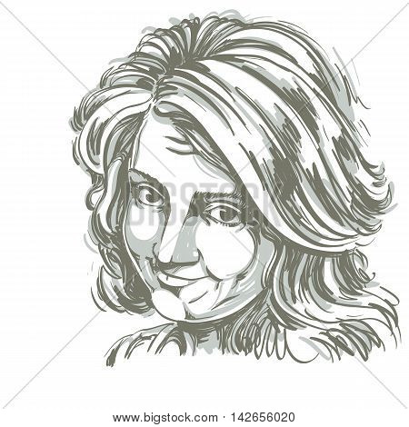 Vector art drawing portrait of naive blameworthy girl isolated on white.