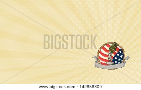 Business card showing Illustration of a world war two grenade mounted on a vintage microphone stand with USA stars and stripes flag in the background with ribbon scroll banner in front set inside rope circle done in retro style.