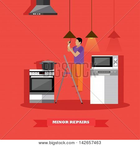Man changing lamp bulb in kitchen vector illustration. Do it yourself home repair concept.