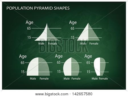 Population and Demography Illustration Set of 5 Types of Population Pyramids Chart or Age Structure Graph on Chalkboard Background.