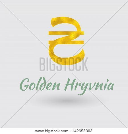 Symbol of the Hryvnia Currency with Golden Texture. Text with the Ukrainian Currency Name.Vector EPS 10