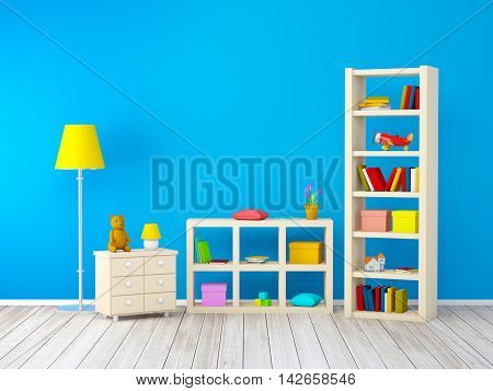 kids room with bookcases with toys at the blue wall. 3d illustration