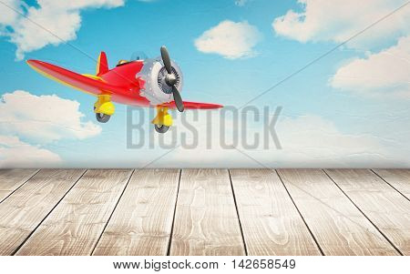 wooden floor with vintage airplane at the wall. 3d illustration