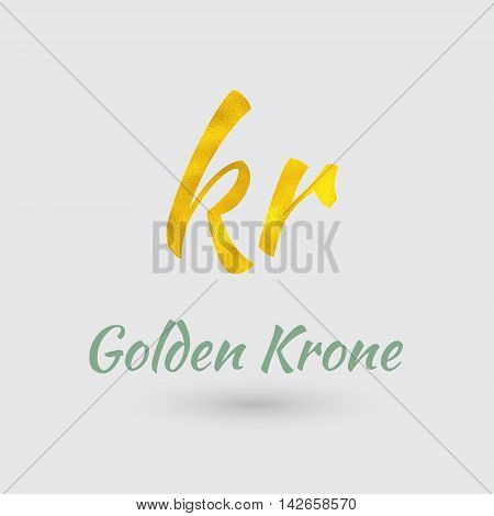 Symbol of the Krone Currency with Golden Texture. Text with the Currency Name. Vector EPS 10