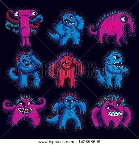 Set of vector cool cartoon monsters colorful weird creatures.