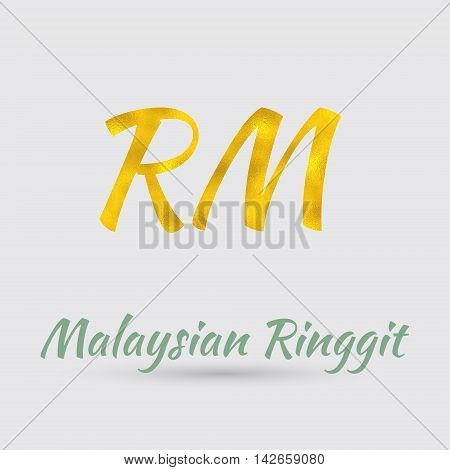 Symbol of the Malaysian Ringgit Currency with Golden Texture. Text with the Malaysian Currency Name.Vector EPS 10