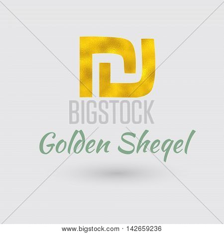 Symbol of the Sheqel Currency with Golden Texture. Text with the Israel Currency Name. Vector EPS 10