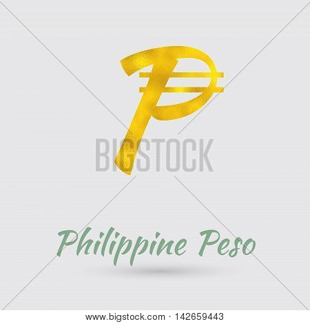 Symbol of the Philippine Peso Currency with Golden Texture. Text with the Philippines Currency Name. Vector EPS 10