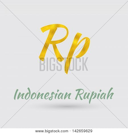 Symbol of the Rupiah Currency with Golden Texture. Text with the Indonesia Currency Name.Vector EPS 10
