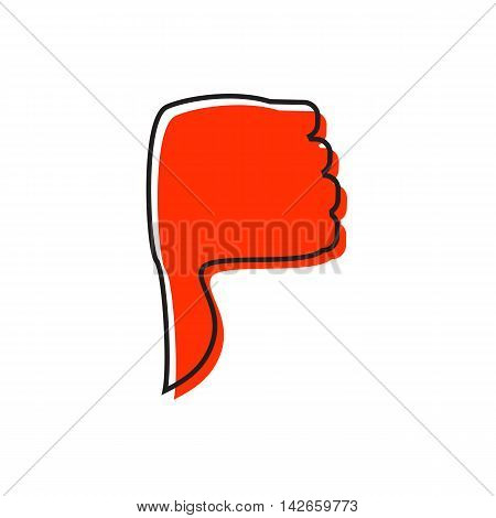 Hand with thumb down icon in flat style isolated on white background. Click and choice symbol