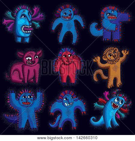 Comic characters set of vector funny alien monsters.