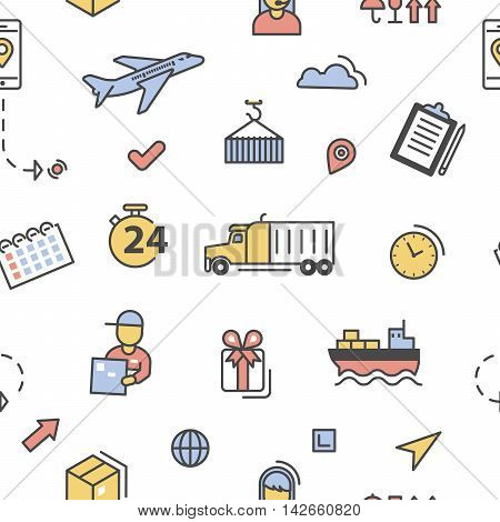 Logistics Delivery Shipping Service Lineart Seamless Pattern. Vector background