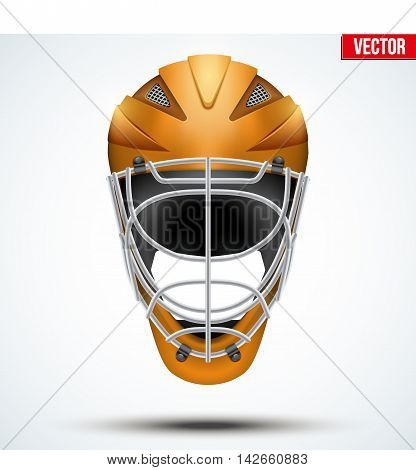 Classic blue Goalkeeper Ice and Field Hockey Helmet isolated on Background. Sport Equipment. Editable Vector illustration isolated on white background.