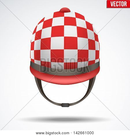 Classic Red Checkered Jockey helmet for horseriding athlete. Front view of Sport equipment. Vector Illustration isolated on a white background.