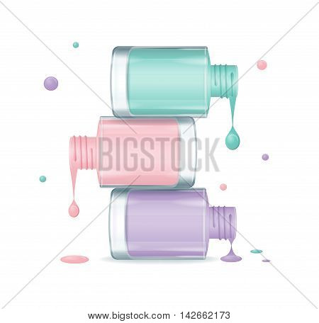 Colorful Nail Polish Set Dripping. Open Bottles. Vector illustration