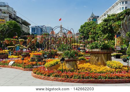 HO CHI MINH CITY VIETNAM - FEBRUARY 07: Flower festival in Ho Chi Minh City during Vietnamese New Year celebrations on February 07 2016.