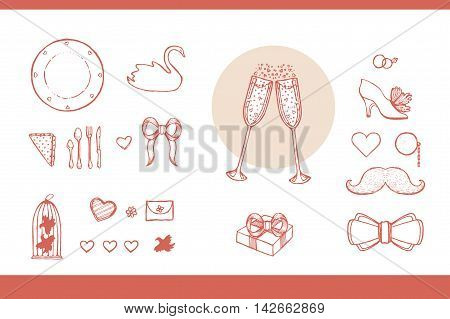 Design elements for wedding and honeymoon. Could be used in greeting card, wedding invitation, poster design, etc. Vintage style, hand drawn pen and ink