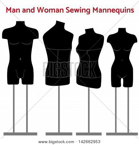 Man and women realistic sewing mannequin of black color in one or two rack. Tailors mannequins vector illustration