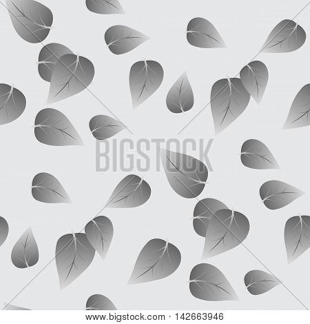 Simple geometric seamless vector illustration. Gray leaf tree scattered on a light gray background