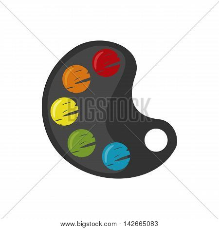 Colorful Palette icon in flat style isolated on white background. Back to School and Education. Painting and Drawing Tool Object. Vector illustration.