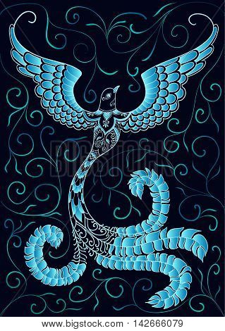 Blue doodle bird with ornaments on black background