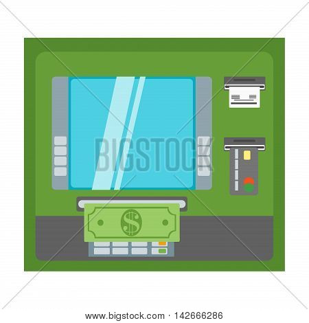 ATM payment vector illustration. ATM machine with hand and credit card. Withdrawing money from card concept. Payment using credit card. ATM terminal usage.
