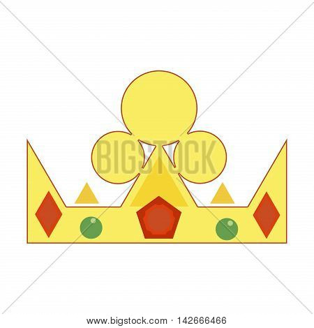 Golden crown with green gemstones and diamonds. Luxury prince jewelry medieval gold crown royalty shiny nobility authority decoration. Design emperor majestic gold crown queen vector.