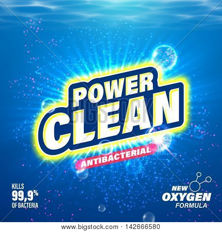 Laundry detergent package design. Toilet and bathroom tub cleanser. Washing machine soap powder vector packaging template. Power Clean with oxygen active substance