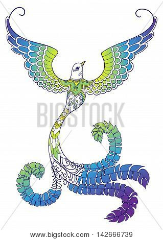 Colorful ornate doodle bird on white background