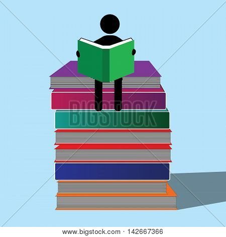 A character engrossed in studying sitting on the books piled up.