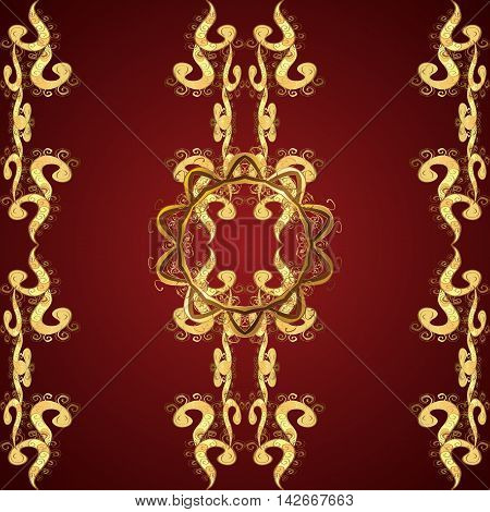 Seamless Oriental Pattern of Floral Spirals. Golden Color on Red Background.