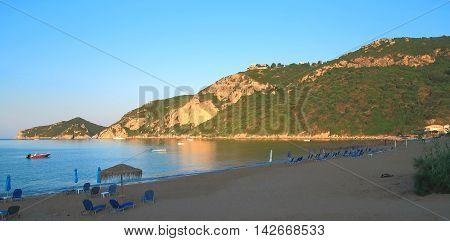 Morning On The Beach Of Agios Georgios Pagon On Corfu Island