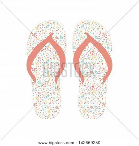 Flip flops, Slippers with floral pattern. Beach slippers summer symbol. Beach slippers for traveling design.