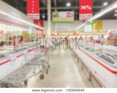 Motion blur of pathway in department store with some people shopping