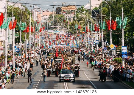 Gomel, Belarus - May 9, 2016: The Ceremonial Procession Of Parade. Military, Civilian People And Enginery On The Festive Decorated Street. Celebration Victory Day 9 May In Gomel Homiel Belarus.