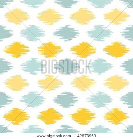 Seamless geometric pattern, based on ikat fabric style. Vector illustration. Yellow and teal scribble spots on white background.
