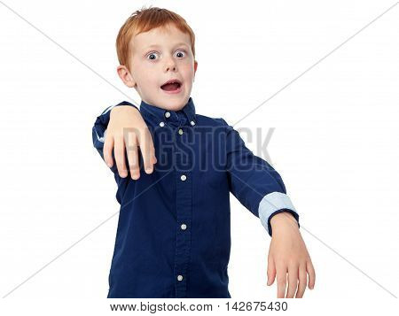 Little redhead boy performing frankenstein monster isolated on white background