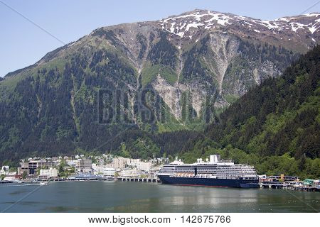 The view of Juneau downtown with the same name mountain behind (Alaska).